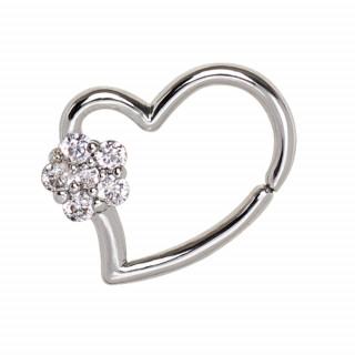 Piercing cartilage anneau coeur fleuri strass