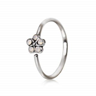 Piercing anneau fleur d'opales blanches