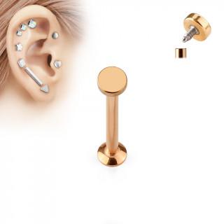 Piercing cartilage labret arrondi cuivré