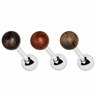 Piercing cartilage à boule de bois véritable