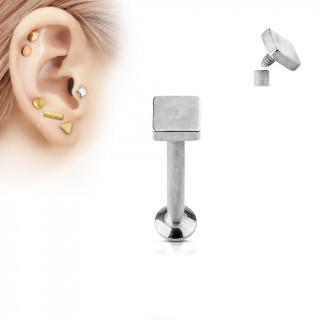 Piercing cartilage carré argenté