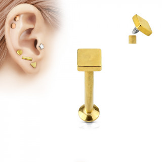 Piercing cartilage labret carré doré