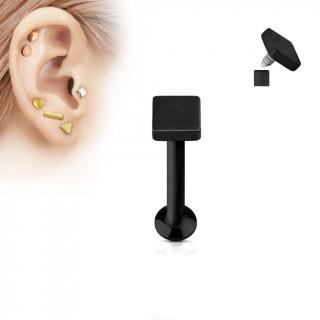 Piercing cartilage carré noir