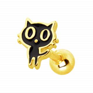 Piercing cartilage chat noir et doré