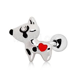 Piercing cartilage chien à coeur rouge