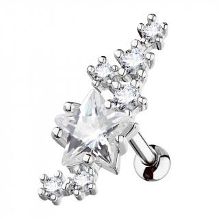 Piercing cartilage cluster d'étoiles strass - Clair