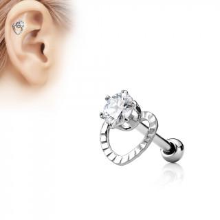 Piercing cartilage à coeur ajouré et pierre claire