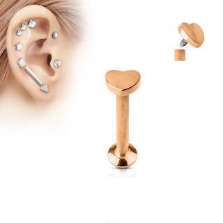 Piercing cartilage labret coeur cuivré