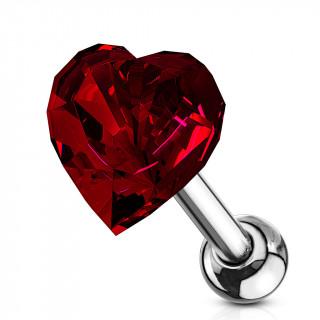 Piercing cartilage à coeur de cristal rouge