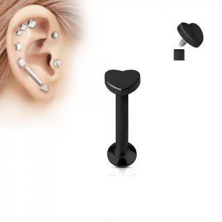Piercing labret cartilage coeur noir