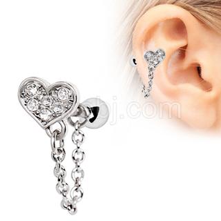 Piercing cartilage coeur pavé de strass à chaine
