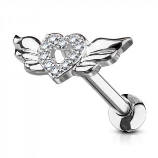 Piercing cartilage coeur strass à ailes d'ange