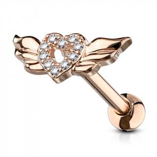 Piercing cartilage coeur strass à ailes d'ange - Cuivré