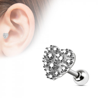 Piercing cartilage coeur zirconiums clairs