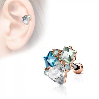 Piercing cartilage composition de pierres - Cuivré