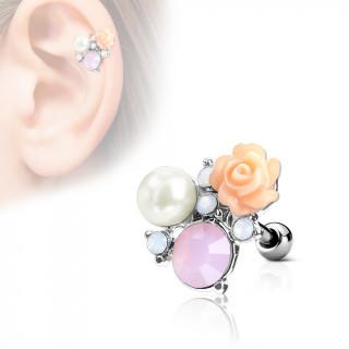 Piercing cartilage composition florale perlée