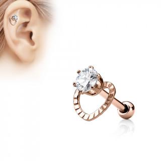 Piercing cartilage cuivré à coeur ajouré et pierre claire