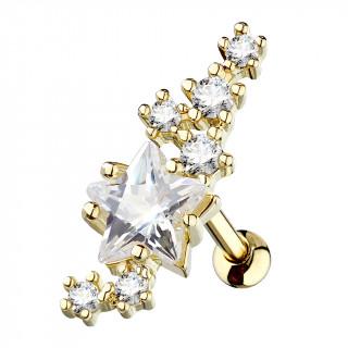 Piercing cartilage doré cluster d'étoiles strass