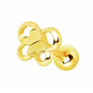 Piercing cartilage doré double papillon