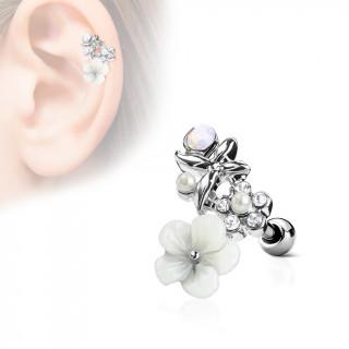 Piercing cartilage duo fleurs et papillon