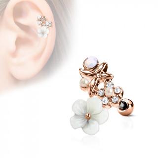 Piercing cartilage duo fleurs et papillon - Cuivré