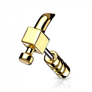 Piercing cartilage en forme de marteau doré
