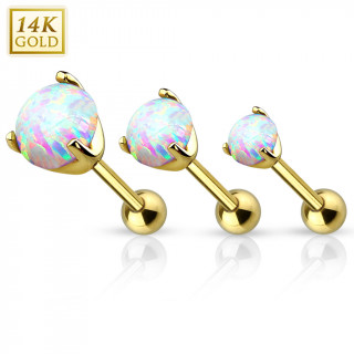 Piercing cartilage en or jaune 14 carats avec Opale synthétique