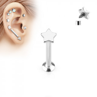 Piercing cartilage labret étoile argentée