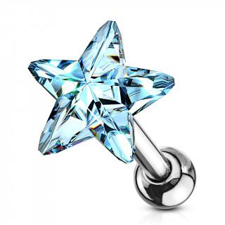 Piercing cartilage à étoile de cristal bleu clair