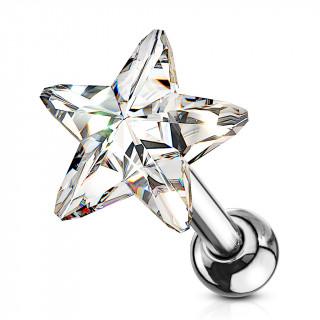 Piercing cartilage à étoile de cristal clair