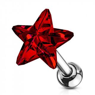 Piercing cartilage à étoile de cristal rouge