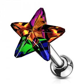Piercing cartilage à étoile de cristal vitrail