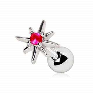 Piercing cartilage étoile du nord à pierre rose