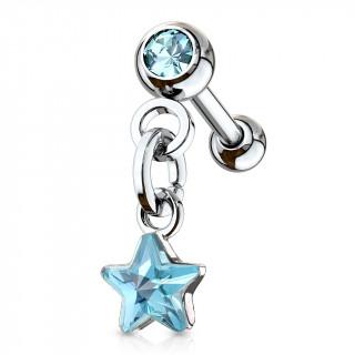 Piercing cartilage à étoile en pendentif - Bleu aqua