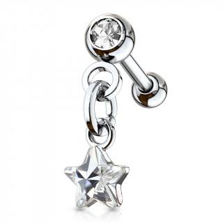Piercing cartilage à étoile en pendentif - Clair