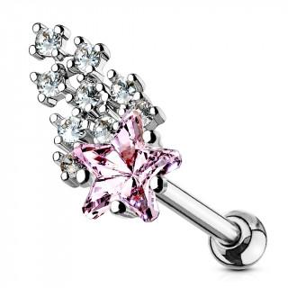 Piercing cartilage à étoile filante multi-strass rose et claires