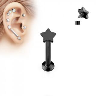 Piercing cartilage labret étoile noire