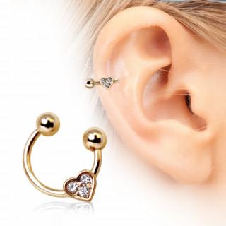 Piercing cartilage fer à cheval doré à coeur strass