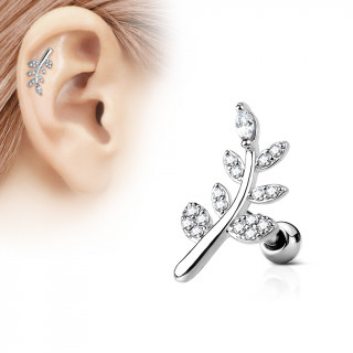 Piercing cartilage feuille strass clairs