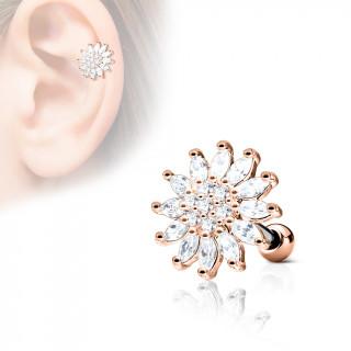 Piercing cartilage fleur éclatante - Cuivré