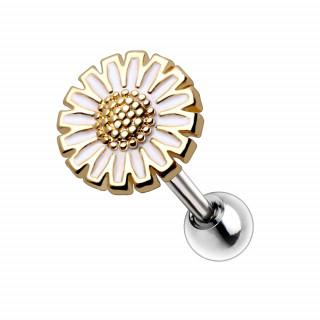 Piercing cartilage à fleur fantaisie dorée et émaillée blanc