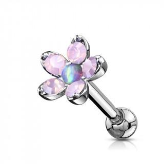 Piercing cartilage à fleur d'opalites et Opale - Violet