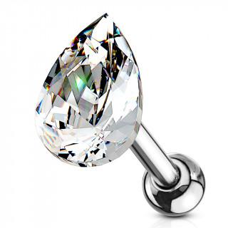 Piercing cartilage à goutte de cristal clair