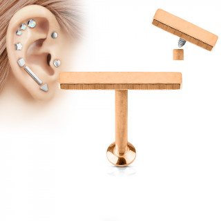 Piercing cartilage grande barre cuivrée