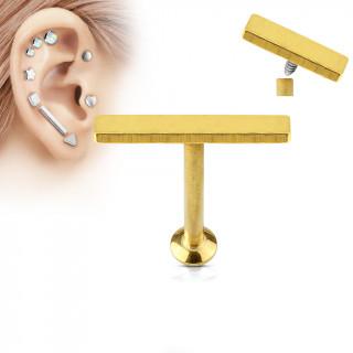 Piercing cartilage grande barre dorée