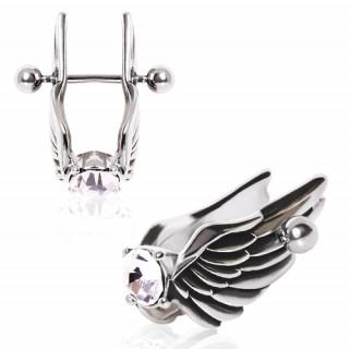 Piercing cartilage hélix à ailes d'anges profilées avec strass