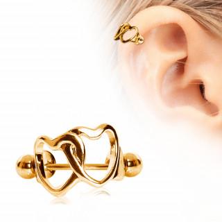 Piercing cartilage hélix doré en acier à coeurs enlacés