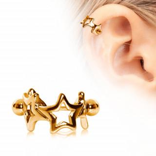 Piercing cartilage hélix doré en acier à couronne d'étoiles
