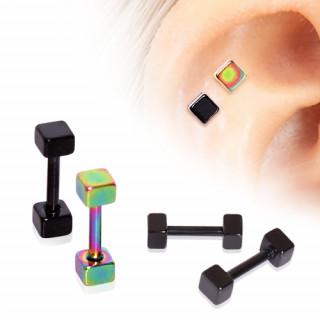 Piercing cartilage hélix en acier plaqué PVD à cubes