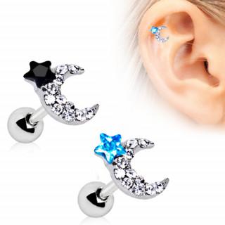 Piercing cartilage helix lune et étoile strass